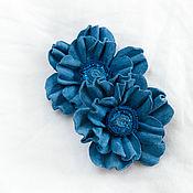 """Украшения ручной работы. Ярмарка Мастеров - ручная работа Украшения на туфли из замши """"Голубые цветы"""". Handmade."""