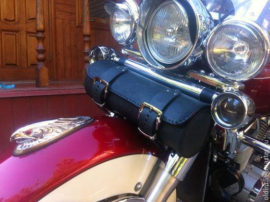 Мужские сумки ручной работы. Ярмарка Мастеров - ручная работа. Купить Кожаный передний кофр на вилку мотоцикла. Handmade. Черный