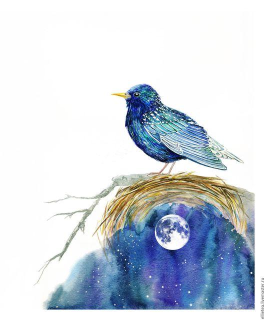 Животные ручной работы. Ярмарка Мастеров - ручная работа. Купить Постер Синяя Птица в гнезде и Луна Blue Bird and Moon Poster. Handmade.