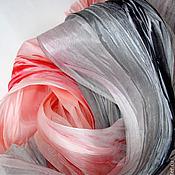 Аксессуары ручной работы. Ярмарка Мастеров - ручная работа Батик палантин «Красное Черное» шелк 100%. Handmade.