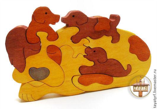 Развивающие игрушки ручной работы. Ярмарка Мастеров - ручная работа. Купить Собака с щенятами деревянный паззл. Handmade. Пазл