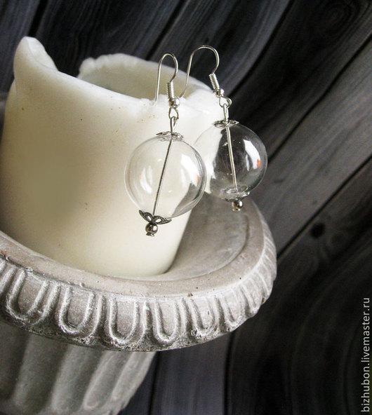 """Серьги ручной работы. Ярмарка Мастеров - ручная работа. Купить Серьги """"Шарики воздушные"""". Handmade. Белый, полые стеклянные бусины"""