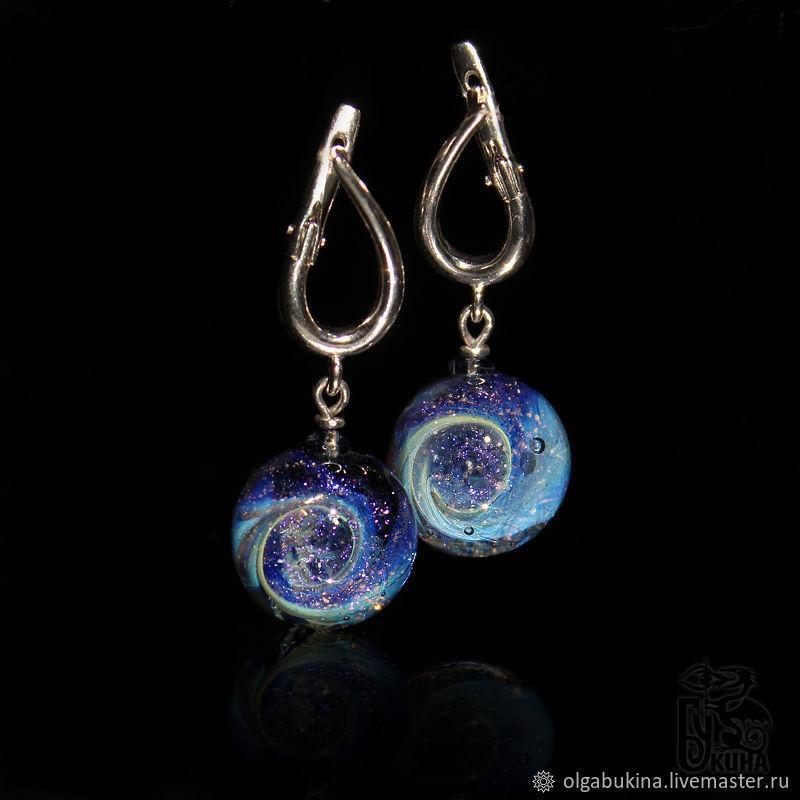 Earring balls Mysterious Space Purple blue silver Lampwork Glass, Earrings, Moscow,  Фото №1