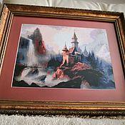 """Картины ручной работы. Ярмарка Мастеров - ручная работа Картина вышитая крестом """"Таинственный замок"""".. Handmade."""