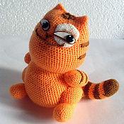 Куклы и игрушки ручной работы. Ярмарка Мастеров - ручная работа стикер вязаный кот Персик - улыбашка. Handmade.