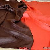 """Аксессуары ручной работы. Ярмарка Мастеров - ручная работа Платок шелковый """"Свой стиль:коричневый и коралловый"""". Handmade."""