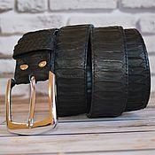 Straps handmade. Livemaster - original item Men`s black Python genuine leather belt. Handmade.
