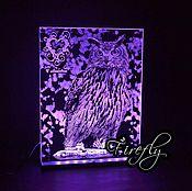 Картины и панно ручной работы. Ярмарка Мастеров - ручная работа Сова гравировка с подсветкой. Handmade.