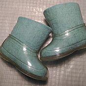 Обувь ручной работы. Ярмарка Мастеров - ручная работа Мятные детские валенки 12см,  с галошами. Handmade.