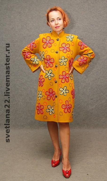 "Outer Clothing handmade. Livemaster - handmade. Buy Knitted coat ""Autumn grass"".Knitted coat, dry felting, wool coat"
