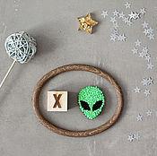 Украшения handmade. Livemaster - original item Embroidered brooch Alien. Handmade.