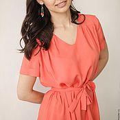 """Одежда ручной работы. Ярмарка Мастеров - ручная работа """"Морковный сок"""" - нежно-оранжевое платье из вискозы с коротким рукавом. Handmade."""