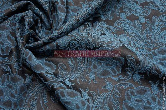Шитье ручной работы. Ярмарка Мастеров - ручная работа. Купить Ткань костюмная жаккард цветы, 150 см, моская волна. Handmade.