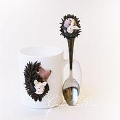 Посуда ручной работы. Ярмарка Мастеров - ручная работа Кружка и ложка Ежик. Handmade.