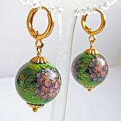 Украшения handmade. Livemaster - original item earrings petals of hydrangeas with beads tensha. Handmade.