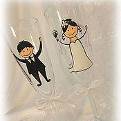 """Свадебный салон ручной работы. Ярмарка Мастеров - ручная работа Свадебные фужеры """"Свадьба"""". Handmade."""