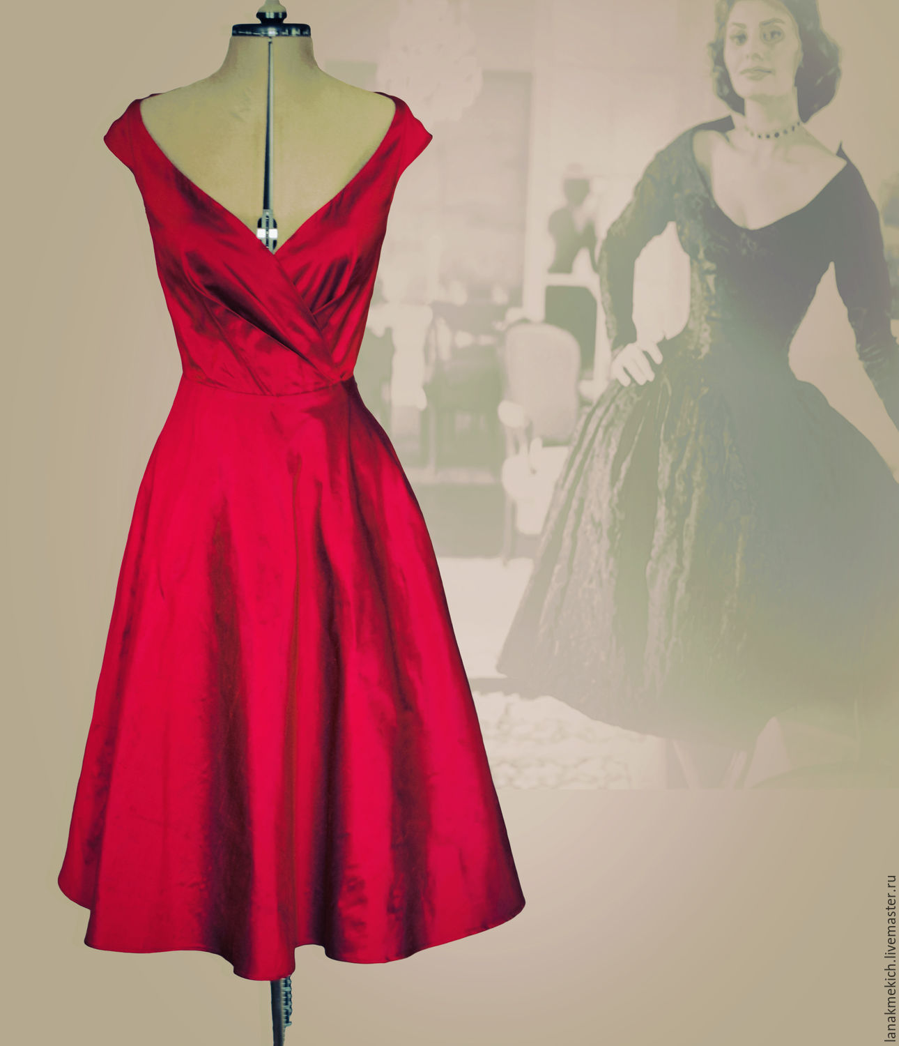 84f0b31849 Red dress-vintage silk taffeta