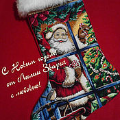 """Подарки к праздникам ручной работы. Ярмарка Мастеров - ручная работа Новогодний сапожок """"Санта и леденец"""". Handmade."""