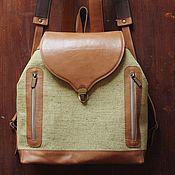 Сумки и аксессуары handmade. Livemaster - original item Backpack made of genuine leather and tarpaulin. Handmade.