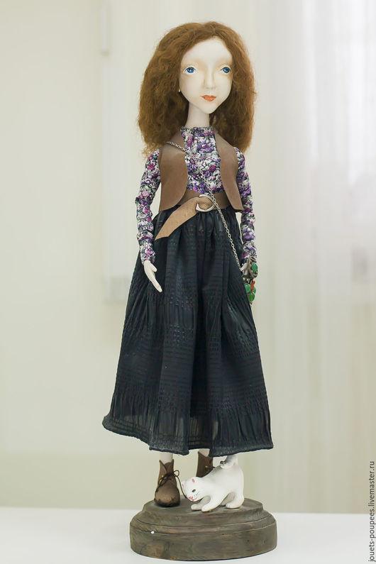 Коллекционные куклы ручной работы. Ярмарка Мастеров - ручная работа. Купить Девушка с котом. Handmade. Коричневый, интерьерная кукла