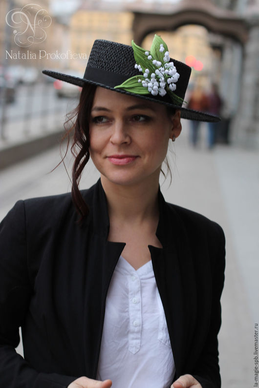 """Шляпы ручной работы. Ярмарка Мастеров - ручная работа. Купить Эксклюзивное канотье """"Je porte bonheur"""" (Я приношу Счастье). Handmade."""