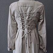 Винтаж handmade. Livemaster - original item A light coat with corset lacing on the back CULTURE R. S (42-44). Handmade.