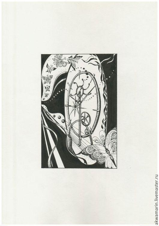 """Фантазийные сюжеты ручной работы. Ярмарка Мастеров - ручная работа. Купить Графика тушью """"Колесо времени"""". Handmade. Графика, бабочки"""