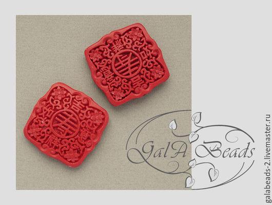 Для украшений ручной работы. Ярмарка Мастеров - ручная работа. Купить Бусина киноварь ( имитация ) квадрат красный чёрный 40 х 40 мм. Handmade.