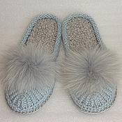Обувь ручной работы. Ярмарка Мастеров - ручная работа Тапочки-шлепки, голубой, полушерсть. Handmade.