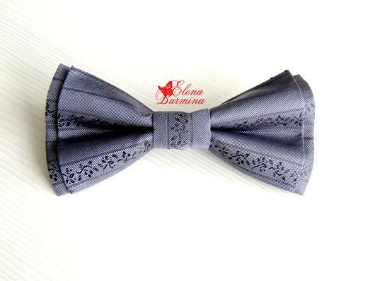Галстуки, бабочки ручной работы. Ярмарка Мастеров - ручная работа. Купить Бабочка галстук светло-серая из искусственного шелка. Handmade.