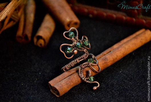 Кольца ручной работы. Ярмарка Мастеров - ручная работа. Купить Медное кольцо с трилистником. Handmade. Зеленый, медное украшение, ирландия