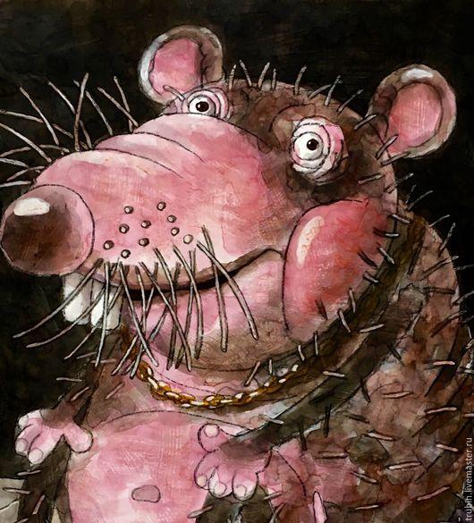 """Животные ручной работы. Ярмарка Мастеров - ручная работа. Купить Крыс с золотой цепью на шее"""". Handmade. Серый, крыса"""
