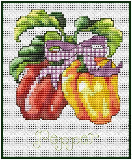 Вышивка ручной работы. Ярмарка Мастеров - ручная работа. Купить Схема для вышивки крестом «КУХНЯ. Овощи. Перец». Handmade. овощи