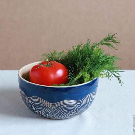 """Салатники ручной работы. Ярмарка Мастеров - ручная работа. Купить Салатник """"Волны"""". Handmade. Тёмно-синий, посуда ручной работы"""