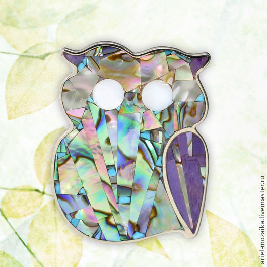 Brooch `Doll` ARIEL - Alena - Moscow MOSAIC Brooch Owl Brooch pin with charoite Brooch with mother of pearl Brooch mosaic Natural stones