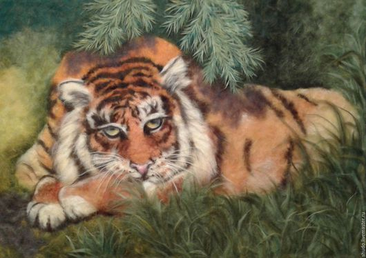 Картина из шерсти `Амурский тигр`.  Ручная  авторская работа. Размер 50 х 70 см.