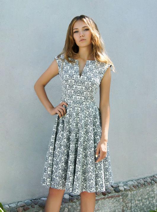 """Платья ручной работы. Ярмарка Мастеров - ручная работа. Купить Платье жаккардовое """"Мила"""". Handmade. Белый, плотный хлопок, стильное"""