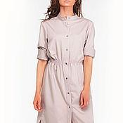 Одежда ручной работы. Ярмарка Мастеров - ручная работа Платье-рубашка бежевого цвета. Handmade.