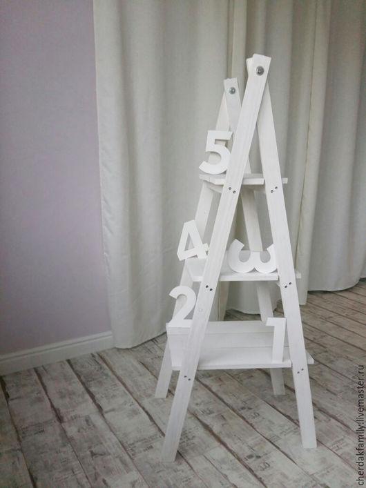 Мебель ручной работы. Ярмарка Мастеров - ручная работа. Купить Деревянная стремянка. Handmade. Белый, стремянка, стеллаж лесенка, фотостудия