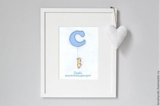 Детская ручной работы. Ярмарка Мастеров - ручная работа. Купить Монограмма для малыша. Handmade. Рождение, малыш, метрика, интерьерная картина