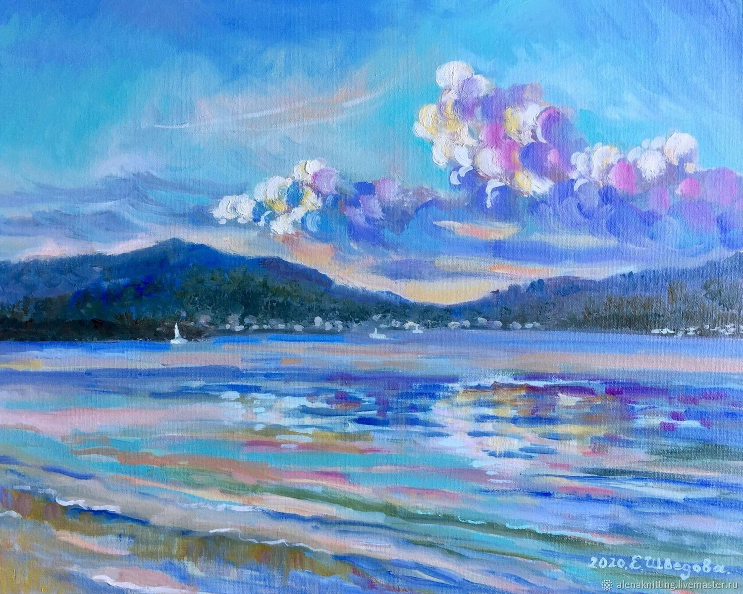 Oil painting landscape ' with the first rays. Montenegro», Pictures, Moscow,  Фото №1