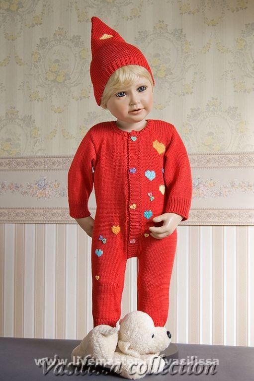 """вязание для детей: красный костюм """"гномик"""" Размер 0-4мес."""