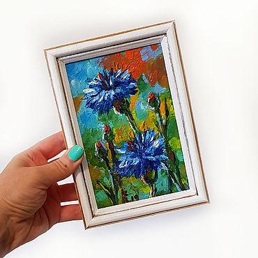Картины и панно ручной работы. Ярмарка Мастеров - ручная работа Синие васильки картина в раме. Handmade.