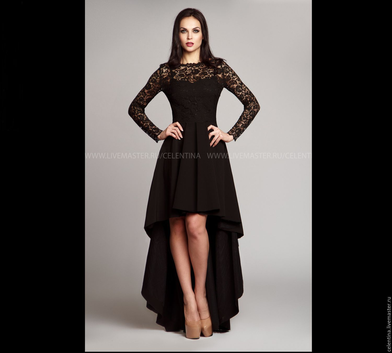 Купить длинное черное вечернее платье