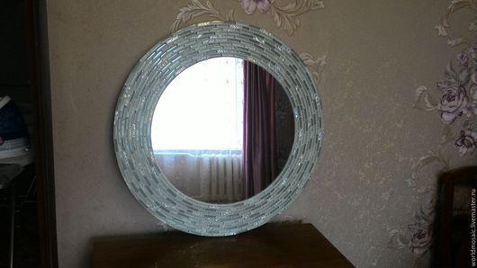 Зеркала ручной работы. Ярмарка Мастеров - ручная работа. Купить Зеркало в мозаичной раме, мятная свежесть. Handmade. Мятный