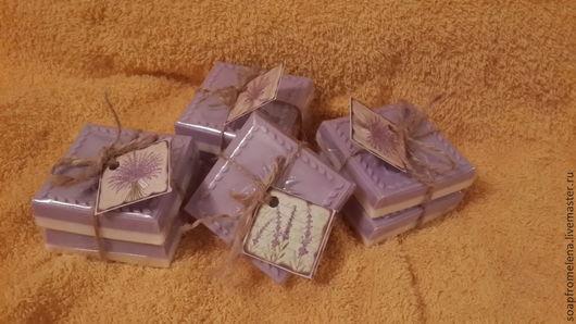 """Мыло-шампунь ручной работы. Ярмарка Мастеров - ручная работа. Купить """"Лавандовое поле""""// Твердый шампунь (шампуневое мыло) с эфирным маслом. Handmade."""