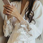 Халаты ручной работы. Ярмарка Мастеров - ручная работа Белый халат невесты.  Халат в пол. Халатик с кружевом. Подарок невесте. Handmade.