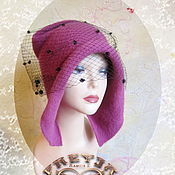 Аксессуары handmade. Livemaster - original item Copy of feminine cap with ear flaps .wool, knitted, felted. Handmade.