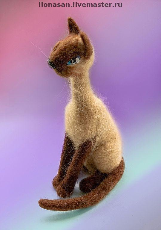 Сиамская кошка (сухое валяние), Войлочная игрушка, Владивосток,  Фото №1