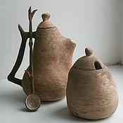 Посуда ручной работы. Ярмарка Мастеров - ручная работа Чайный набор. Чайник, сахарница, ложка.. Handmade.